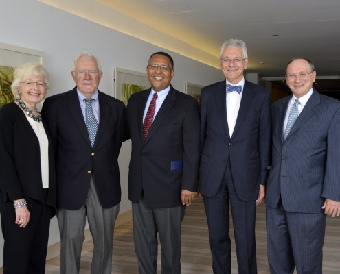 Former Chief Justices Margaret Marshall, Herbert Wilkins, and Roderick Ireland, MLAC Executive Director Lonnie Powers, and Chief Justice Ralph Gants